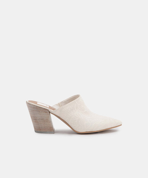 ANGELA MULES IN IVORY EMBOSSED LEATHER -   Dolce Vita