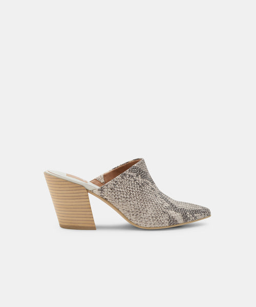 ANGELA MULES IN SNAKE PRINT LEATHER -   Dolce Vita