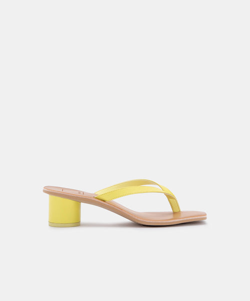 BRUNA HEELS IN CITRON LEATHER -   Dolce Vita