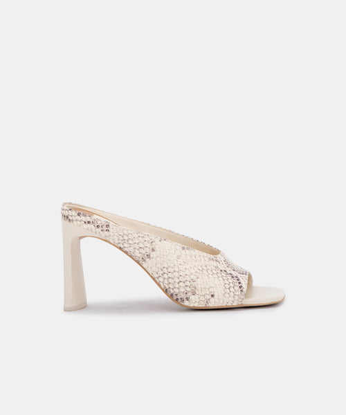 DESI HEELS IN BONE SNAKE PRINT LEATHER -   Dolce Vita