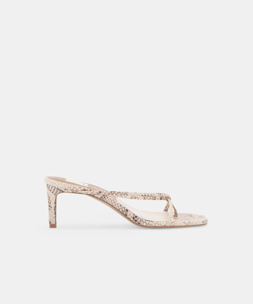 KAYDEN HEELS IN BONE SNAKE PRINT LEATHER -   Dolce Vita
