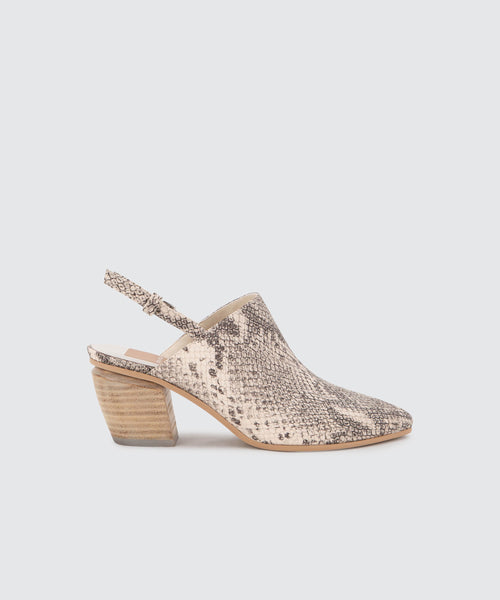 LANEY MULES IN WHITE/BLACK SNAKE PRINT LEATHER -   Dolce Vita