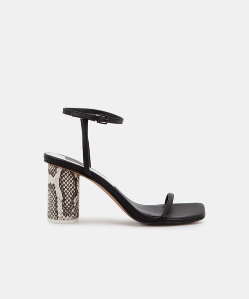 NAOMEY HEELS IN BLACK EMBOSSED LIZARD -   Dolce Vita