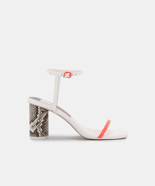 NAOMEY HEELS IN CORAL MULTI LEATHER -   Dolce Vita