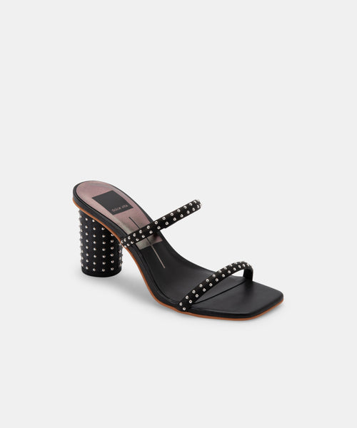 NOLES STUDDED HEELS IN BLACK LEATHER -   Dolce Vita