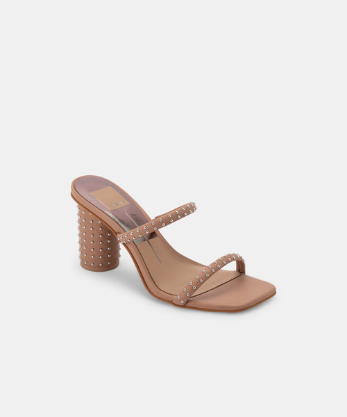 NOLES STUDDED HEELS IN CAFE LEATHER -   Dolce Vita