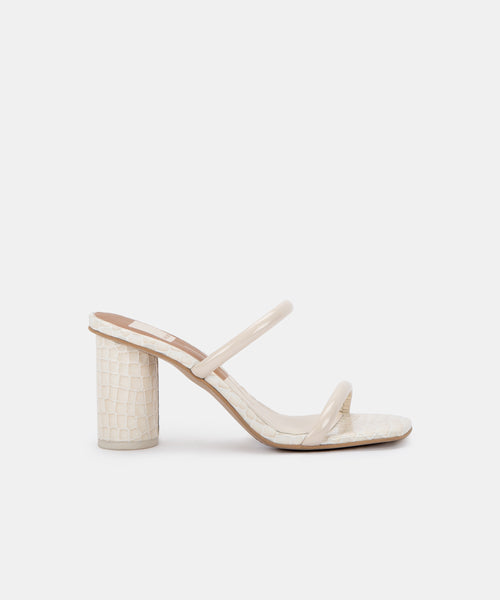 NOLES WIDE HEELS IN IVORY PATENT CROCO LEATHER -   Dolce Vita