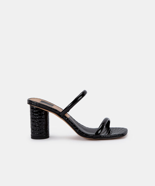 NOLES WIDE HEELS IN MIDNIGHT PATENT CROCO LEATHER -   Dolce Vita