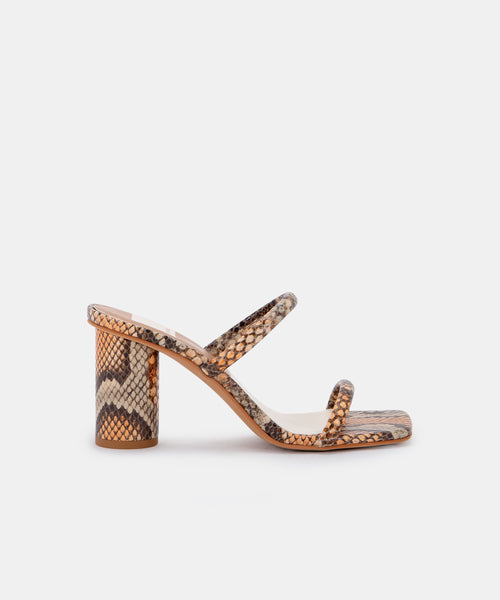 NOLES HEELS IN TAN MULTI SNAKE PRINT LEATHER -   Dolce Vita