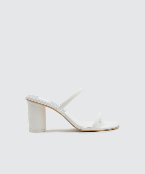 NOLES WIDE HEELS IN WHITE LEATHER -   Dolce Vita