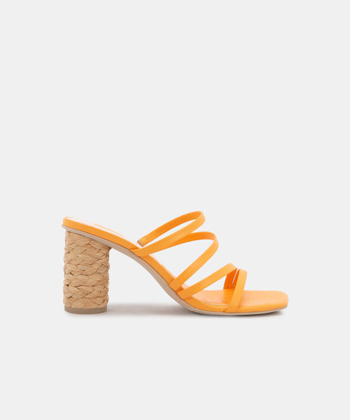NOVA HEELS IN TANGERINE LEATHER -   Dolce Vita