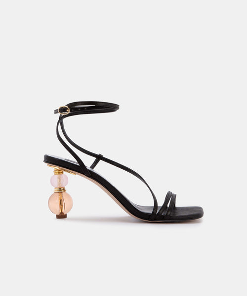 OLEN HEELS IN BLACK LEATHER -   Dolce Vita
