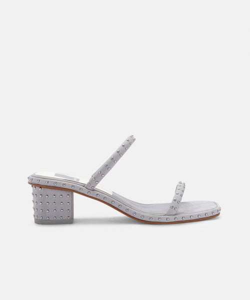 RIYA STUDDED SANDALS IN GREY NUBUCK -   Dolce Vita