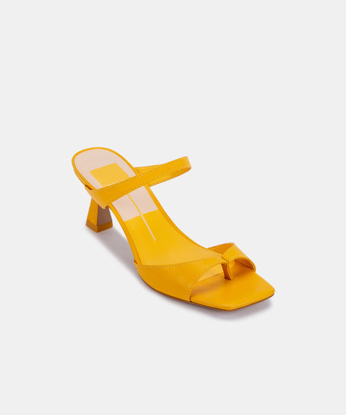 TANIKA HEELS IN MUSTARD LEATHER -   Dolce Vita