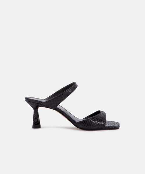 TANIKA HEELS IN ONYX SNAKE PRINT LEATHER -   Dolce Vita