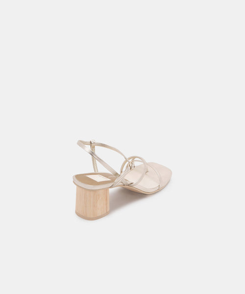 ZYDA HEELS IN LIGHT GOLD LEATHER -   Dolce Vita
