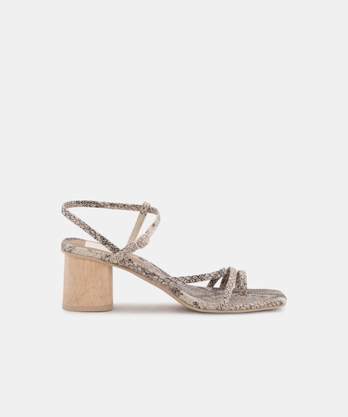 ZYDA HEELS IN STONE SNAKE PRINT LEATHER