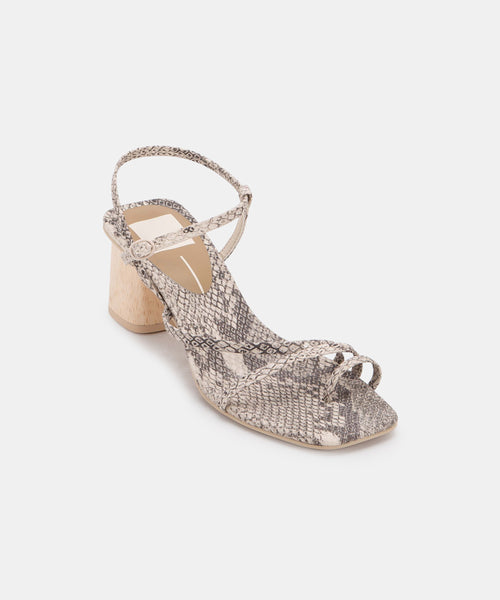 ZYDA HEELS IN STONE SNAKE PRINT LEATHER -   Dolce Vita