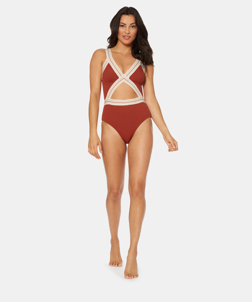 FAST LANE SOLID BLAIRE ONE PIECE IN CINNAMON -   Dolce Vita