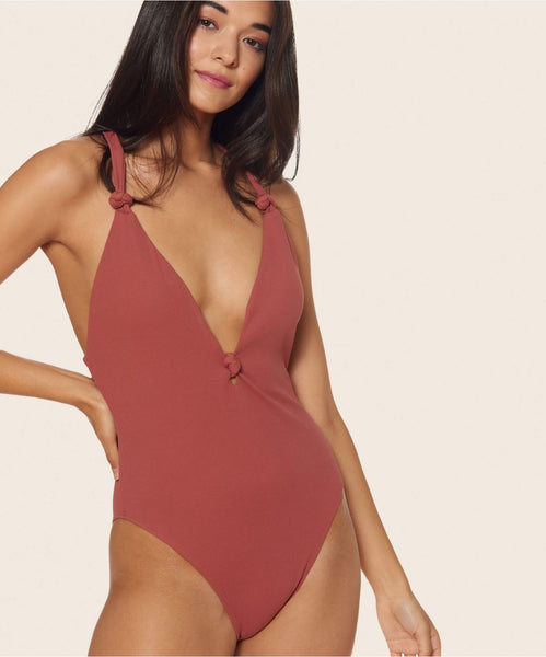 KNOTTY HIGH LEG ONE PIECE IN SAHARA -   Dolce Vita
