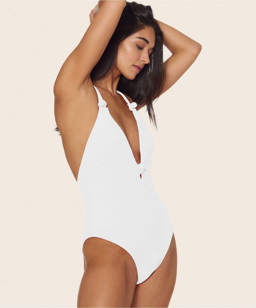 KNOTTY HIGH LEG ONE PIECE IN WHITE -   Dolce Vita