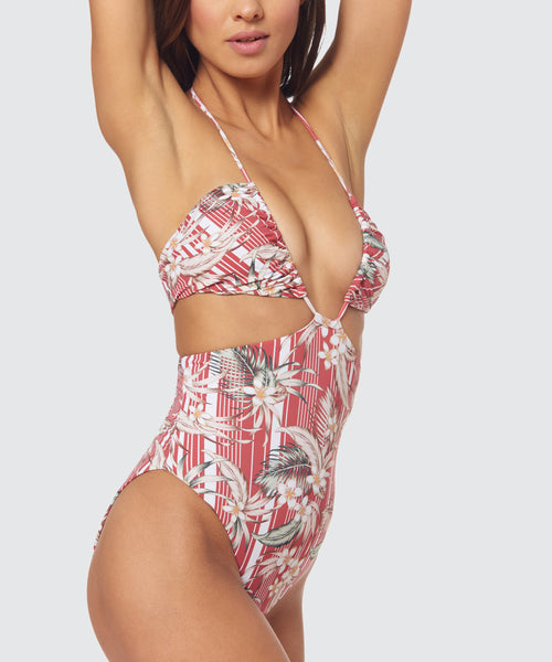 PLAYA TRAIL LACE BACK ONE PIECE IN DESERT ROSE -   Dolce Vita