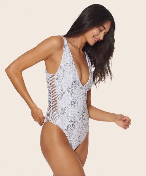 STELLA LADDER HIGH LEG ONE PIECE IN WHITE SNAKE -   Dolce Vita