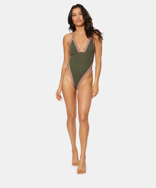 WANDERER RIB GEO ONE PIECE IN ARMY CLAY -   Dolce Vita