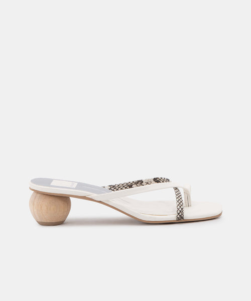 BETSEY SANDALS IN WHITE MULTI SNAKE PRINT LEATHER