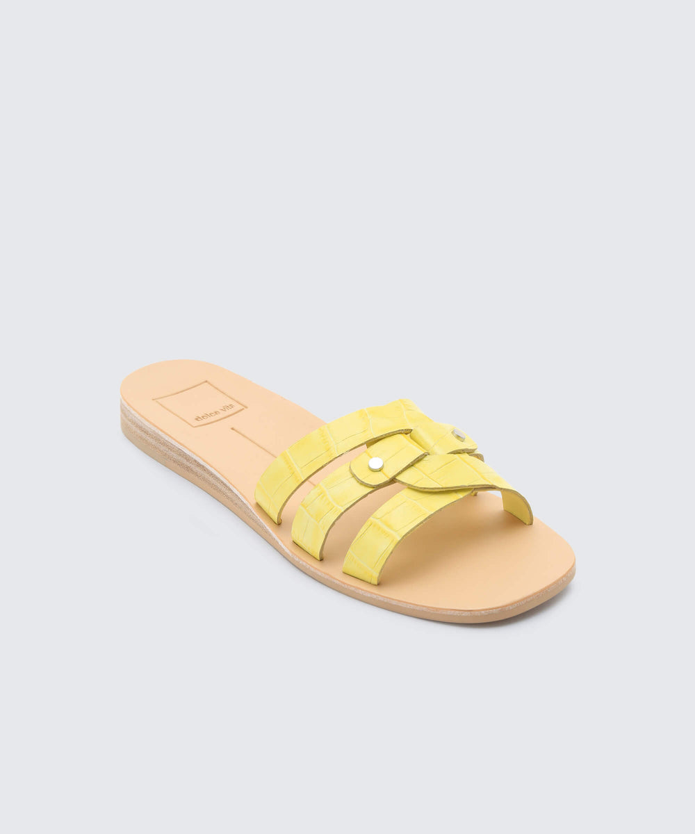 37c7c77ecef7 CAIT SANDALS IN CITRON CROCO