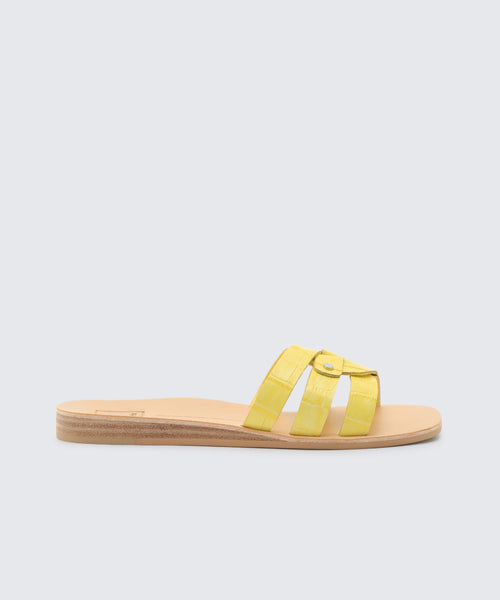 CAIT SANDALS IN CITRON CROCO -   Dolce Vita