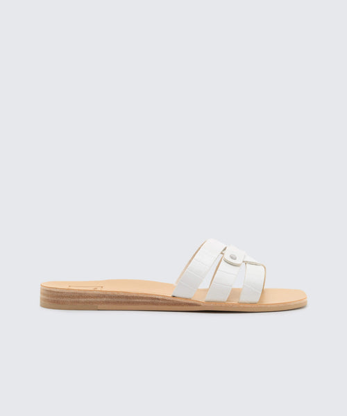 1792ba99cae5 CAIT SANDALS IN WHITE CROCO - Dolce Vita