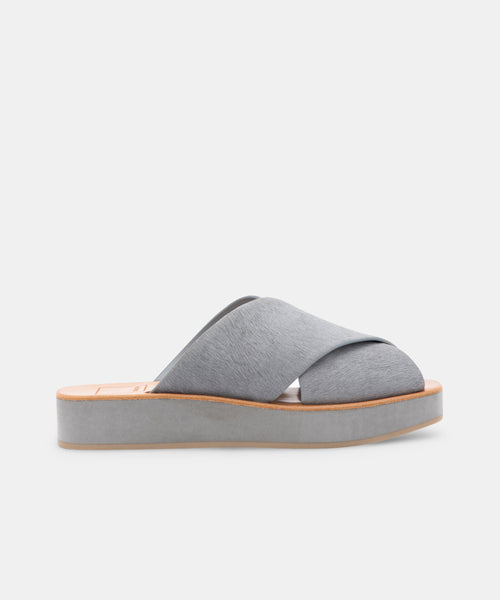 CAPRI SANDALS LIGHT GREY CALF HAIR -   Dolce Vita