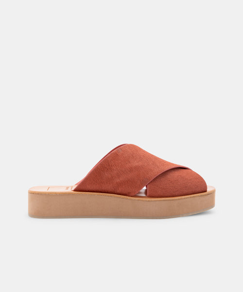 CAPRI SANDALS RUST CALF HAIR -   Dolce Vita