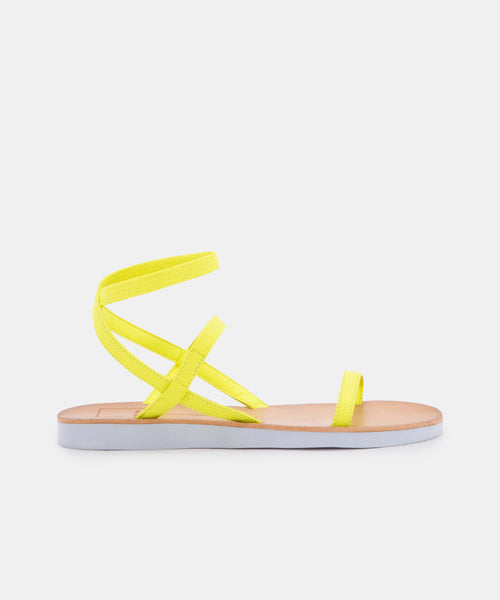 DAYLIN SANDALS IN NEON YELLOW ELASTIC -   Dolce Vita