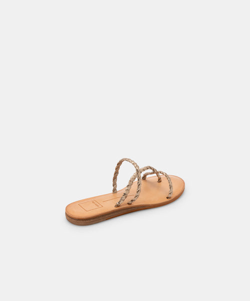 DEXLA WIDE SANDALS GOLD CRACKLED STELLA -   Dolce Vita