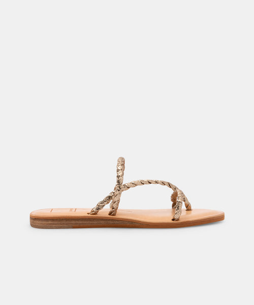 DEXLA SANDALS IN GOLD CRACKLED STELLA -   Dolce Vita