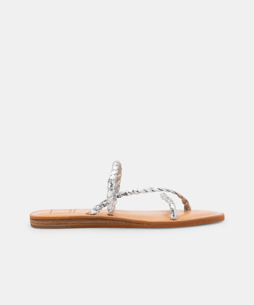 DEXLA WIDE SANDALS SILVER CRACKLED STELLA -   Dolce Vita