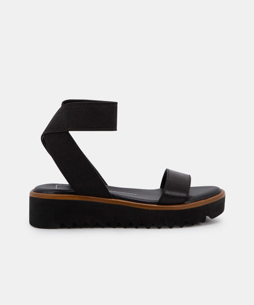 FRANZ SANDALS IN BLACK ELASTIC -   Dolce Vita