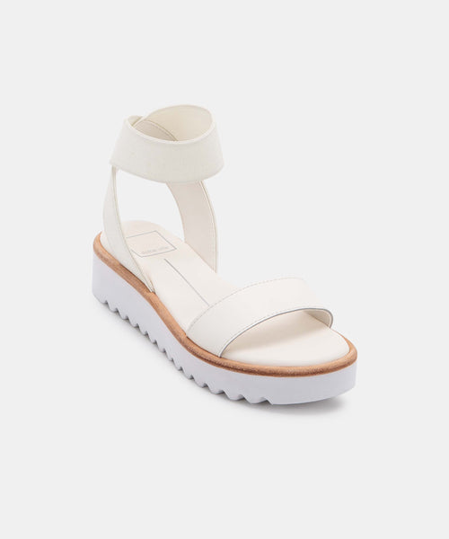 FRANZ SANDALS IN WHITE ELASTIC -   Dolce Vita