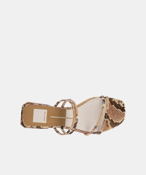 HAIZE SANDALS IN DARK SAND EMBOSSED LEATHER -   Dolce Vita