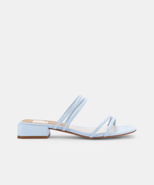 HAIZE SANDALS IN SKY BLUE EMBOSSED LEATHER -   Dolce Vita