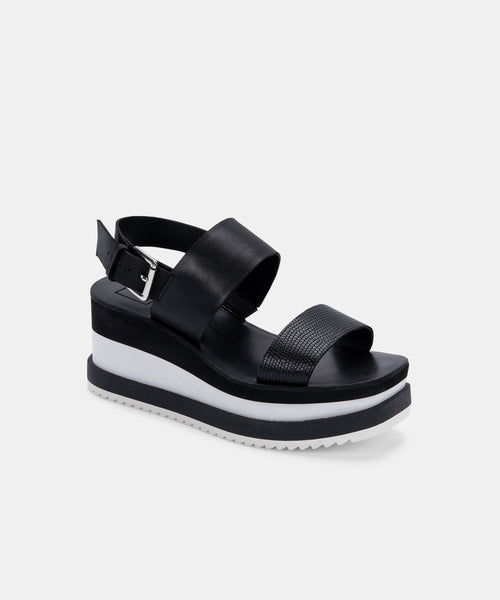 IDRAH SANDALS IN BLACK EMBOSSED LEATHER -   Dolce Vita