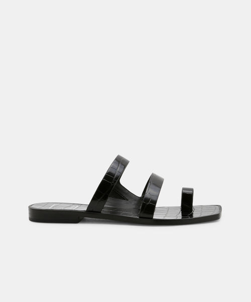 ISALA SANDALS IN BLACK CROCO EMBOSSED STELLA -   Dolce Vita