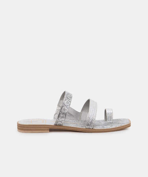 ISALA SANDALS IN PEWTER EMBOSSED LIZARD -   Dolce Vita