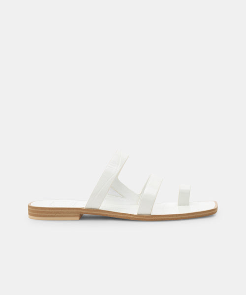 ISALA SANDALS IN WHITE CROCO EMBOSSED STELLA -   Dolce Vita