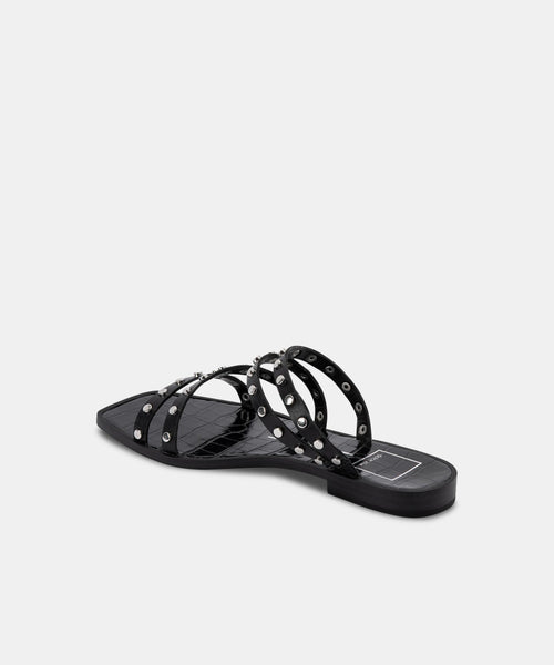 IZABEL WIDE STUDDED SANDALS BLACK STELLA
