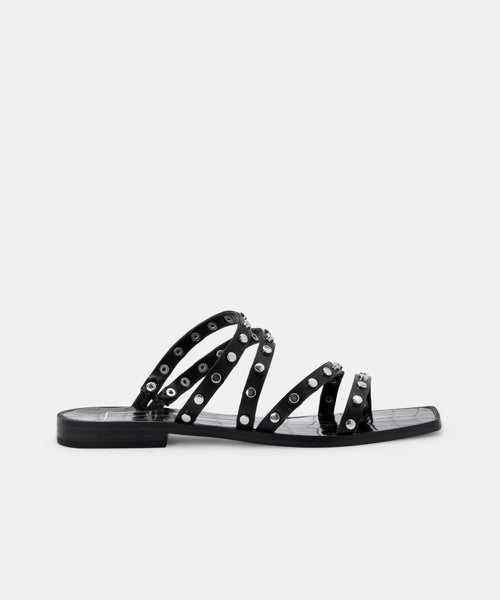 IZABEL STUDDED SANDALS IN BLACK STELLA -   Dolce Vita