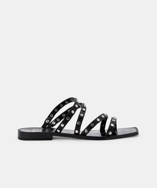 IZABEL WIDE STUDDED SANDALS BLACK STELLA -   Dolce Vita