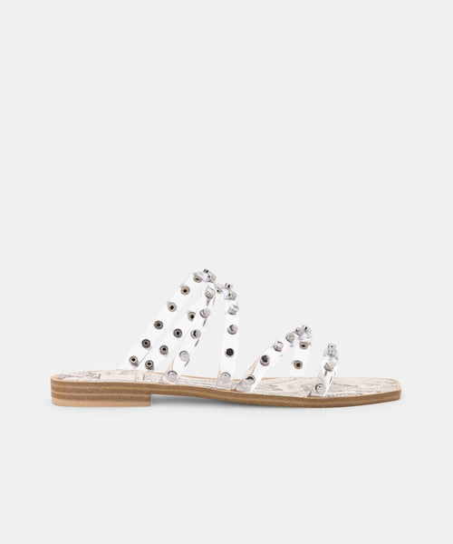 IZABEL WIDE STUDDED SANDALS CRYSTAL VINYL -   Dolce Vita